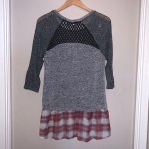 Scrapbook Tops - Knit Blouse with Plaid Peplum, 3/4 Sleeves